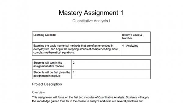 MATH 1113: Quantitative Analysis I